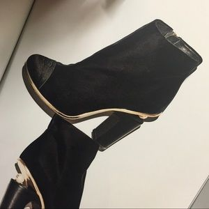 Chanel Velvet and Pearl Booties 39